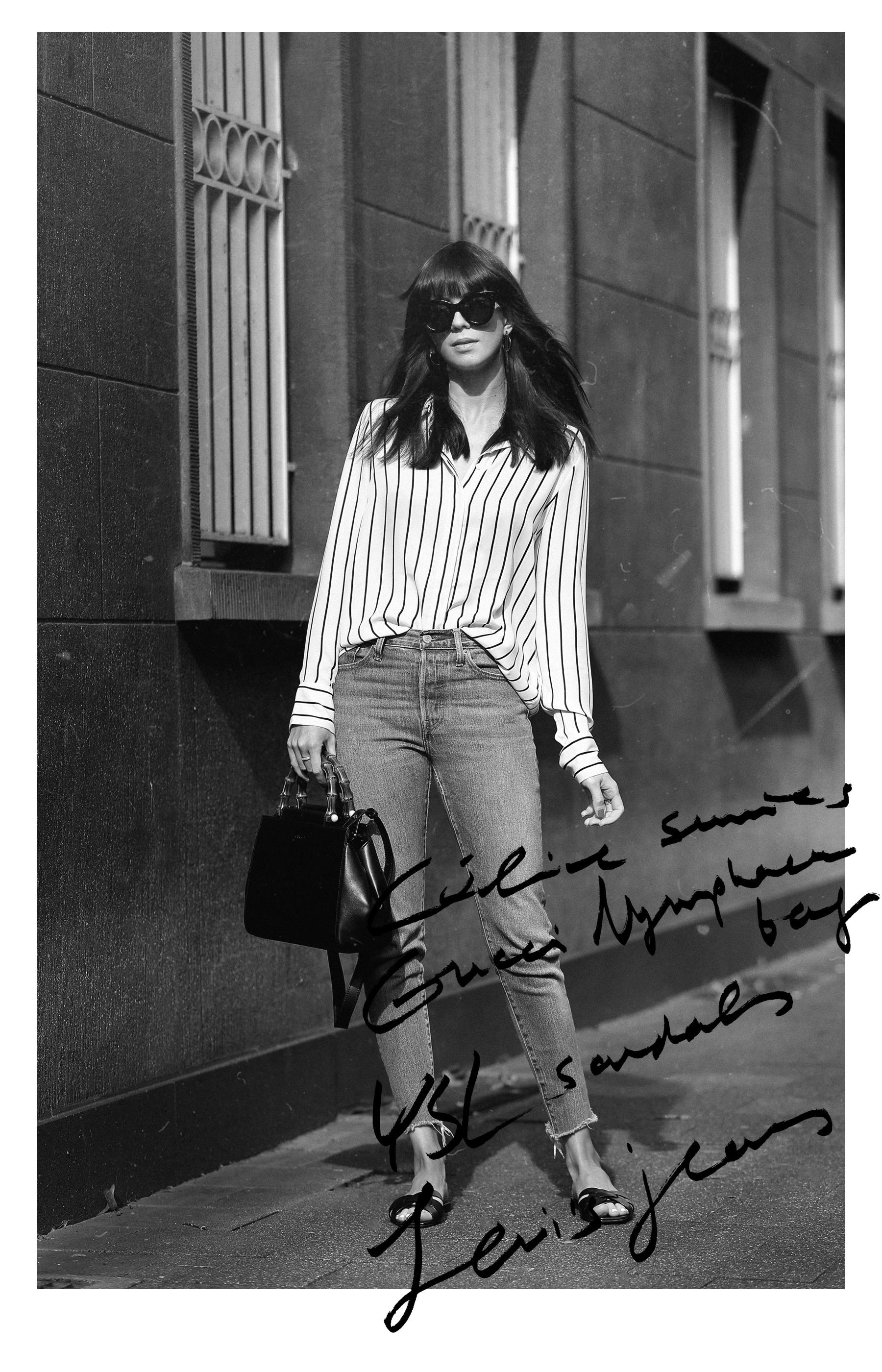 stripe blouse gucci nymphaea bag bamboo ysl saint laurent sandals slipper levi's jeans céline audrey sunglasses spring outfit minimal parisienne chic brunette bangs madame ricarda schernus cats&dogs blog modeblogger ootd outfitblogger düsseldorf 6