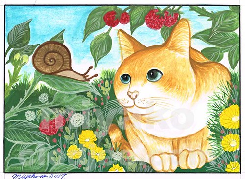 Cat with snail and strawberries