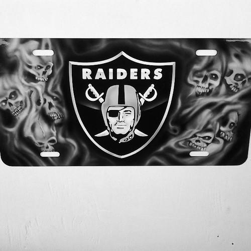 Raiders licence plates custom airbrush for Raider Nation