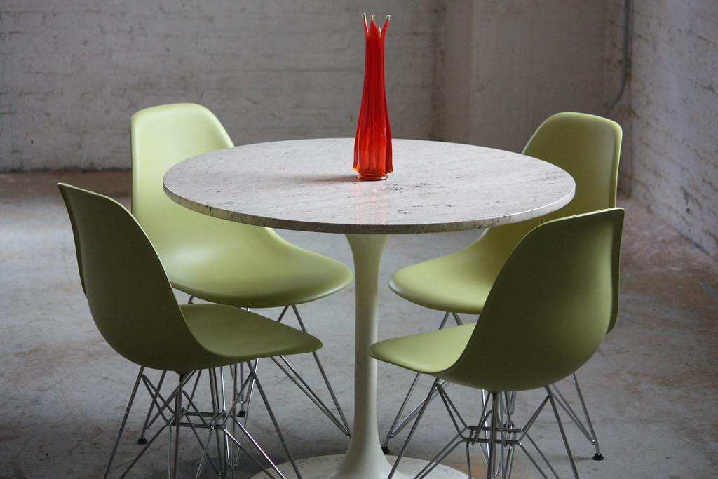 Beau ... Terrific Mid Century Modern Travertine Top Tulip Table With Four Eames®  Molded Plastic Eiffel Side