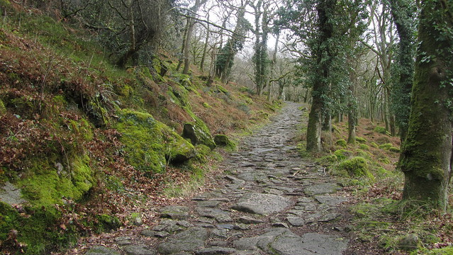 The old granite tramway to the quarry on the hill