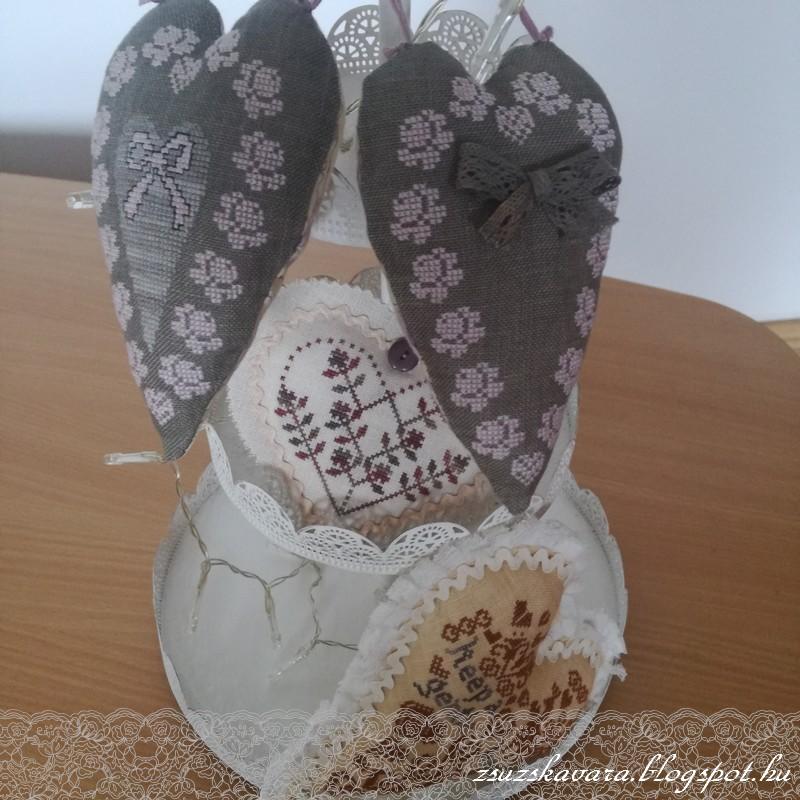 cross stitch, hearts,