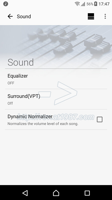 Sony | Music Center - Sound settings