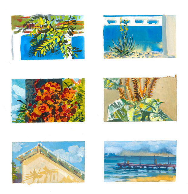 Trip to Bonaire - Mini Gouache Paintings