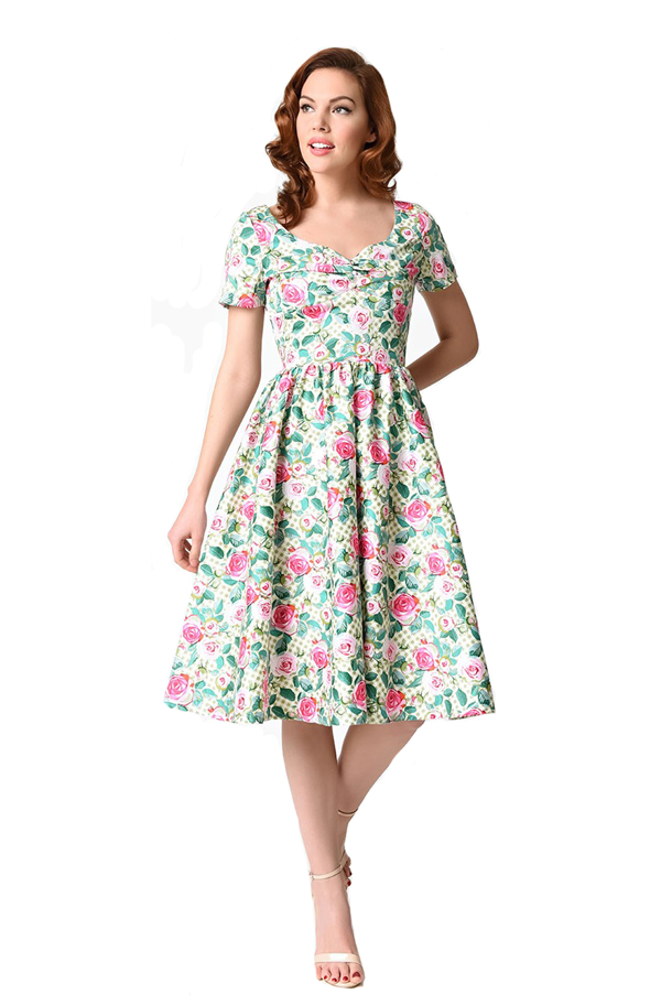 unique vintage rose print dress