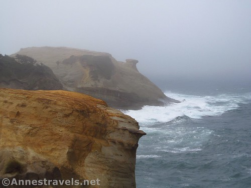 Rock formations in the mist at Cape Kiwanda, Oregon