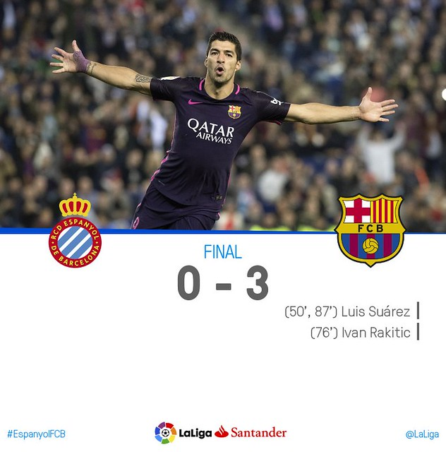 La Liga (Jornada 35): RCD Espanyol 0 - FC Barcelona 3