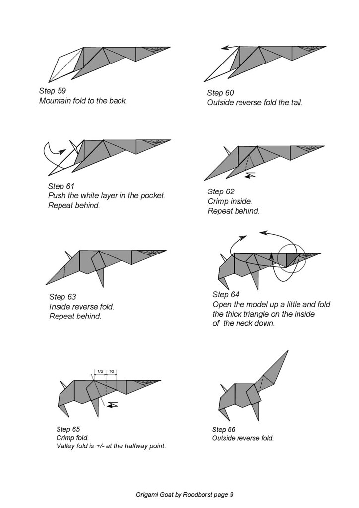 Goat Diagram Page 8 Origami Goat Designed By Roodborst Dia Flickr
