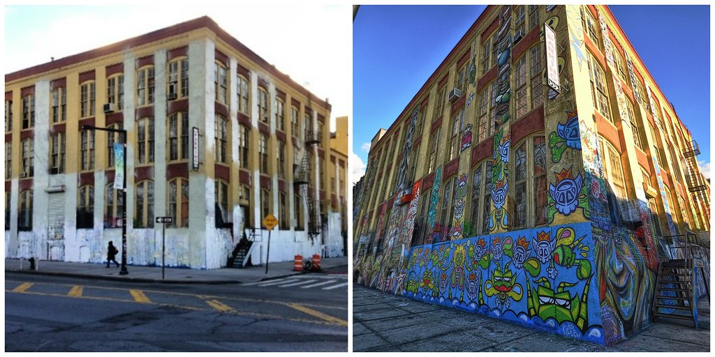 5Pointz after and before being painted over, Photo: Forsaken Fotos/Flickr