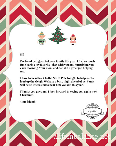 Bright image inside free printable elf on the shelf letter