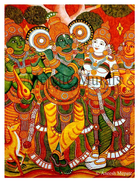 Venugopalam with gopikas my painting in guruvayur temple for Ananthasayanam mural painting