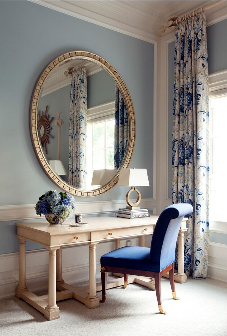 Blue and White Floral Office Window Treatments | Large Circular Mirror Above Desk
