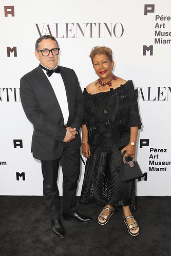 Artist Edouard Duval-Carrie and Mireille Chancey Gonzalez at PAMM Art Of The Party Presented By Valentino