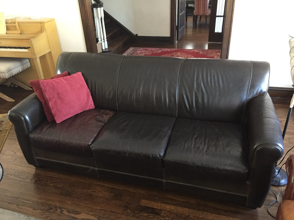 Terrific Leather Couch 82 X 36 X 34 In Tall Espresso Brown Leathe Spiritservingveterans Wood Chair Design Ideas Spiritservingveteransorg
