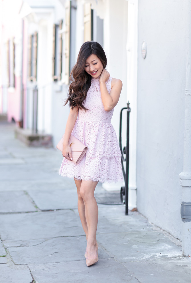 spring pink lace dress petite fashion blog