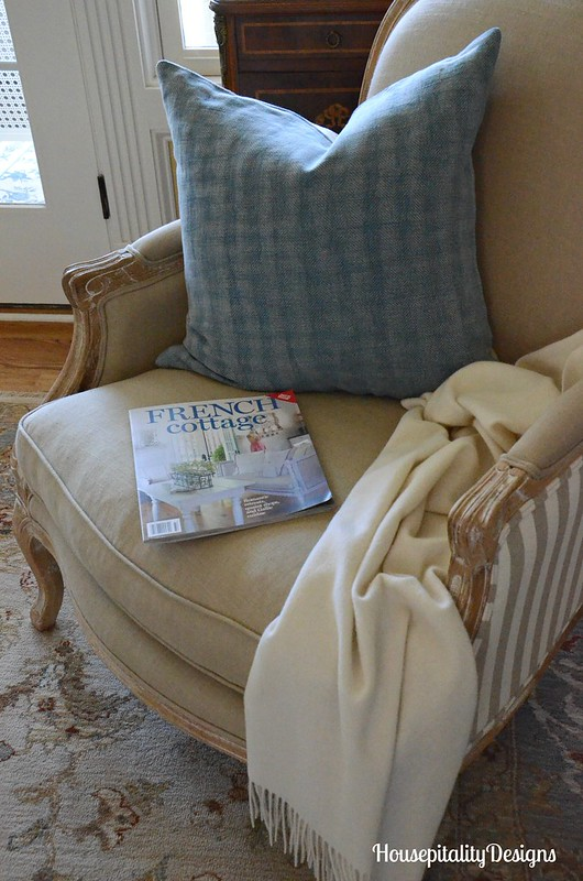 Herringbone Pottery Barn Pillow-French Country Chair-Housepitality Designs