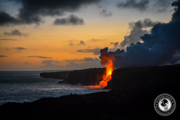 Lava At Night At Kalapana Viewing Area Big Island Hawaii