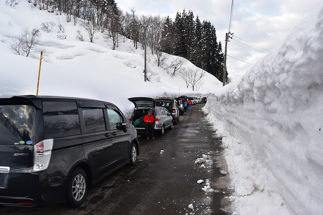 冬の守門岳 駐車場(路上駐車)
