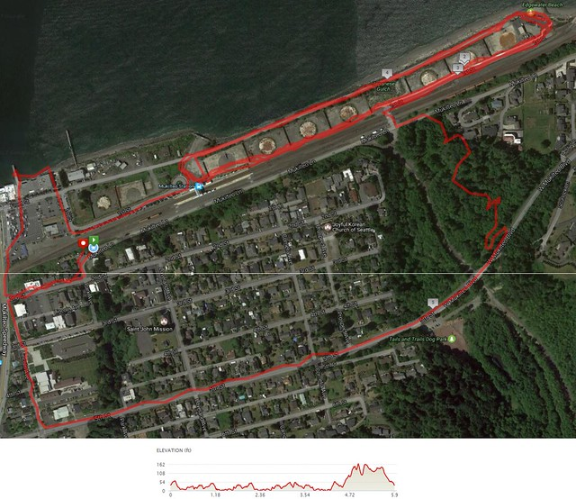 Today's awesome walk, 5.91 miles in 1:57, 12,847 steps, 254ft gain