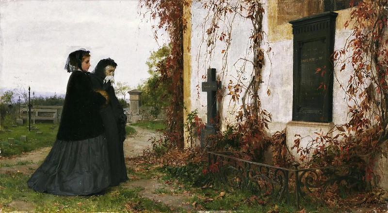 Albert Anker - At the cemetery (1872)