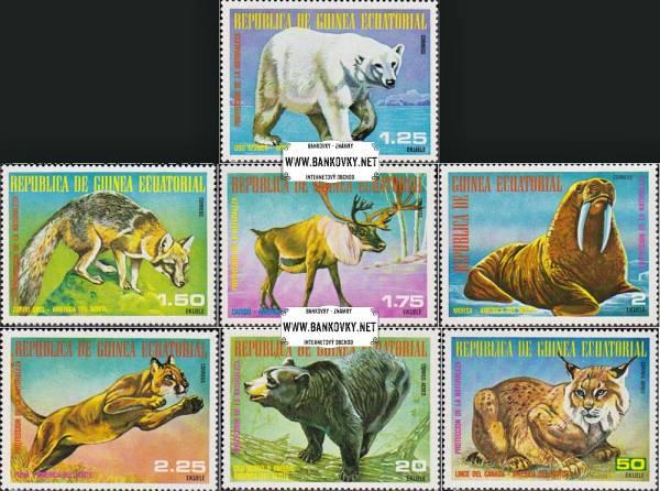 *Známky Rovníková Guinea 1977 Severoamerické zvieratá neraz.séria