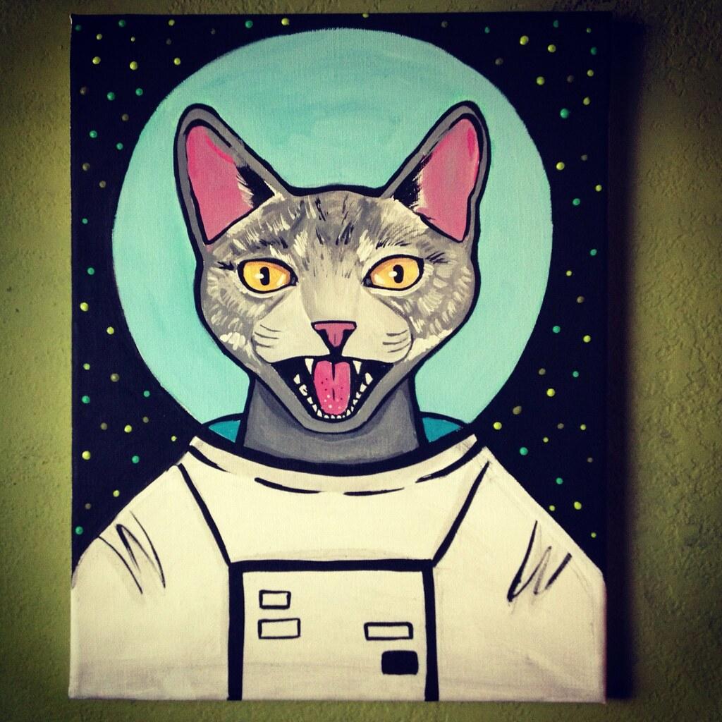 Catstonaut Cat Astronaut Painting