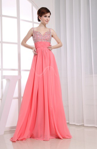 Empire Spaghetti Floor Length Beaded Prom Dresses | by xubangwen