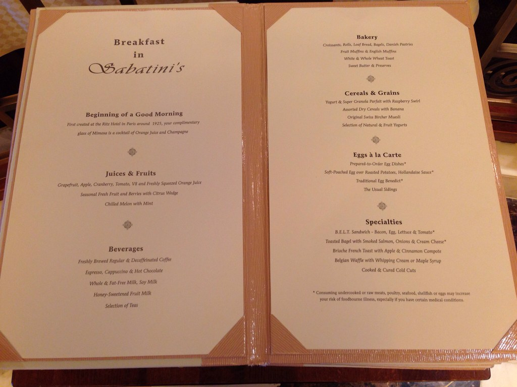 Golden Princess Cruise Room Service Menu