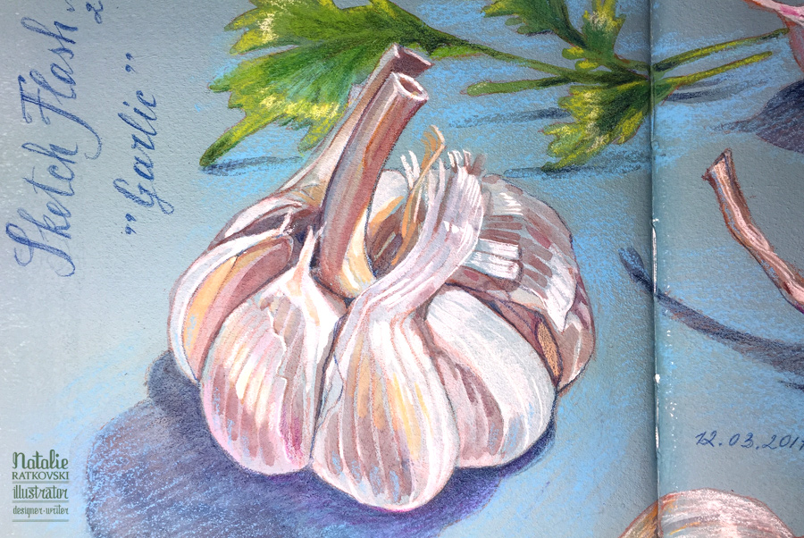 Sketch flash mob 2017: Результаты по теме Чеснок, Nr. 152 Garlic, detail