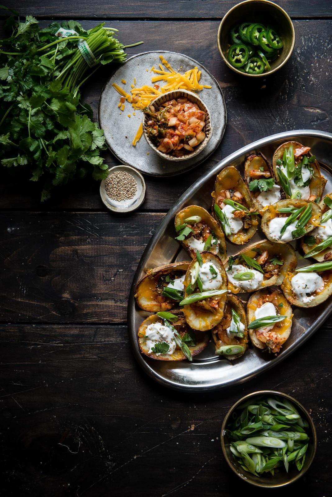 kimchi potato skins | two red bowls