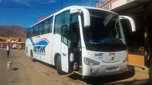 Our CTM bus - On the road from Marrakech to Ouarzazate, Morocco