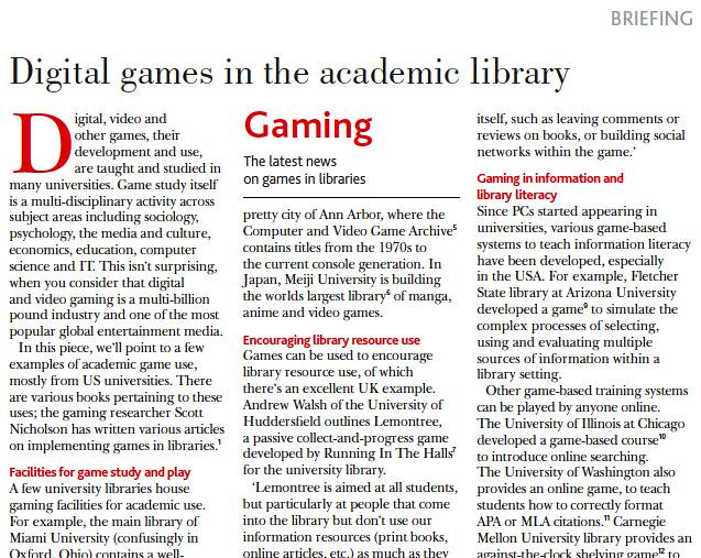 Excerpt from September 2012 CILIP Update article