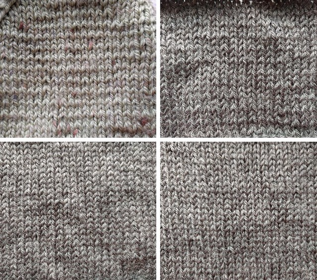 Four swatches of knitting.