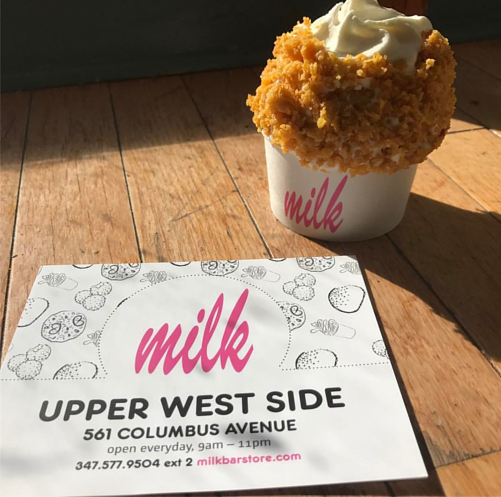 Cereal Milk And Birthday Cake Flavored Soft Serve Ice Cream With Caramelized Corn Flakes