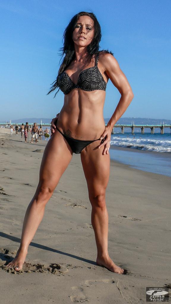 Muscular babe bikini