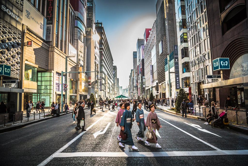 Geisha Crossing the Street in Tokyo