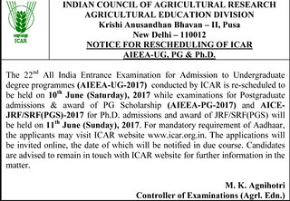 ICAR Revised Date