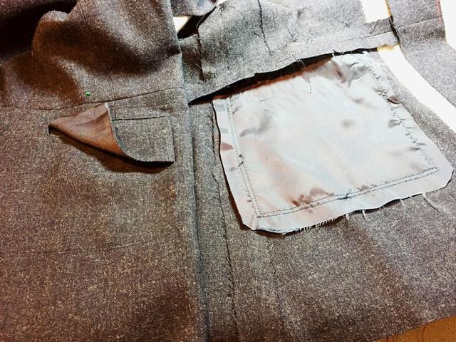 pocket details wool denim jacket