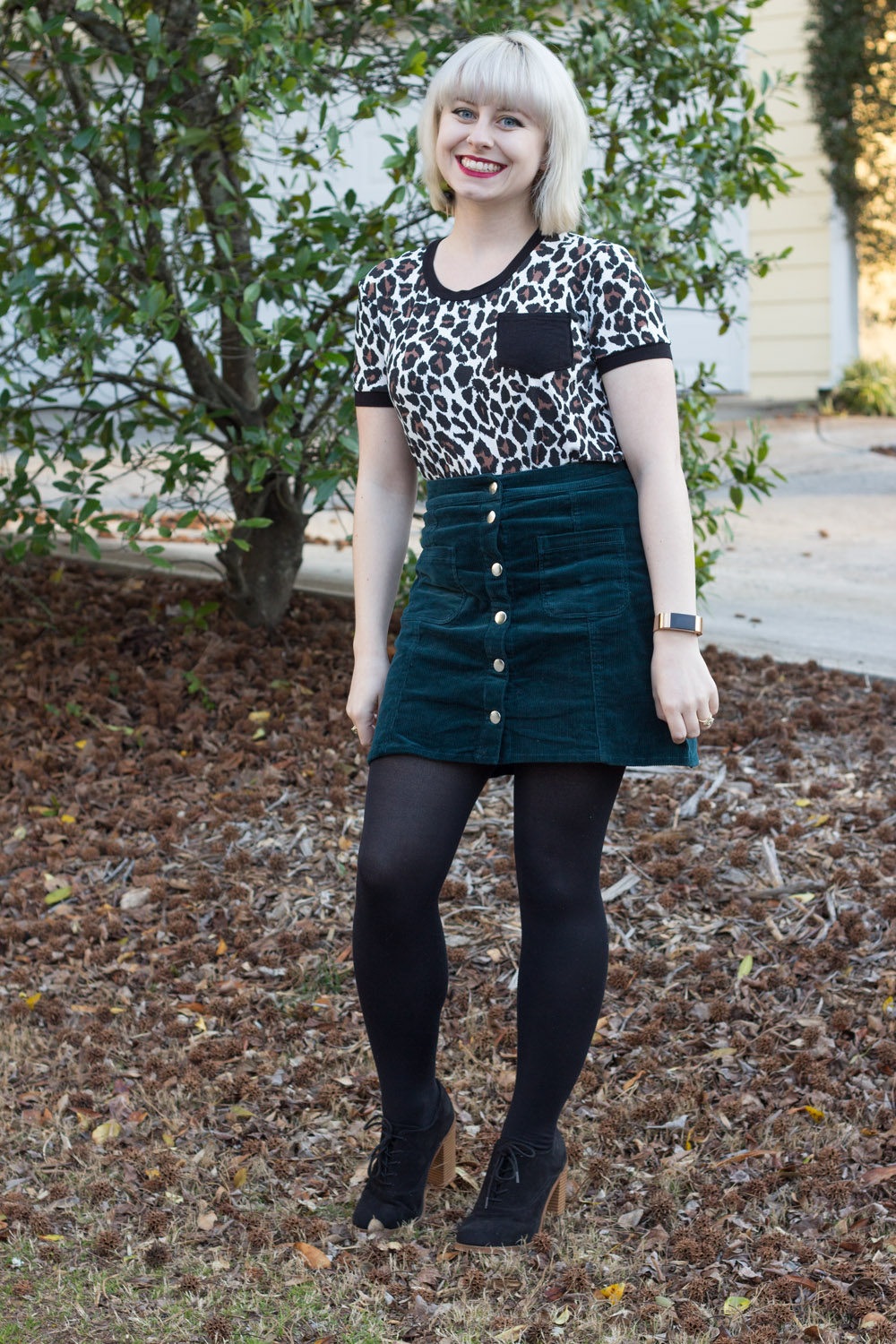 Green Corduroy Button Down Skirt, Leopard Print T-shirt, Black Tights, Black Lace Up Boots