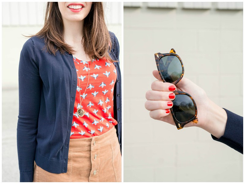 navy Loft cardigan + red patterned Loft tee + gold coin necklace + tan cord skirt; spring work outfit | Style On Target blog
