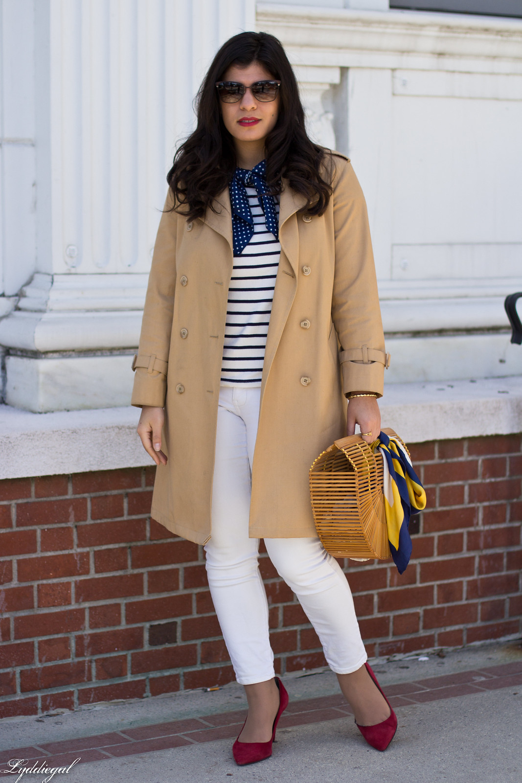 trench, striped shirt, neck scarf, white jeans, bamboo bag.jpg