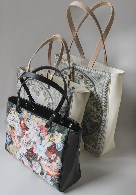 Handbag small, handbag large and shopping bag
