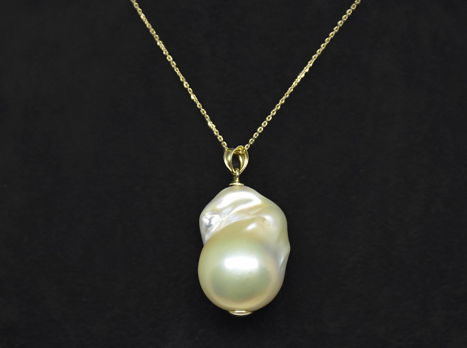 - Ahsen 14K Altın Doğal Barok Beyaz İnci Kolye Ucu-AH-0015