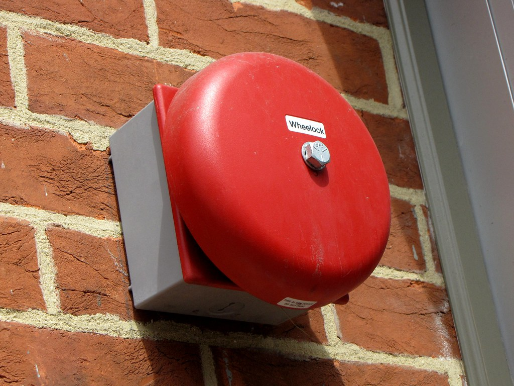 Wheelock fire alarm bell | A weatherproof Wheelock bell on ...