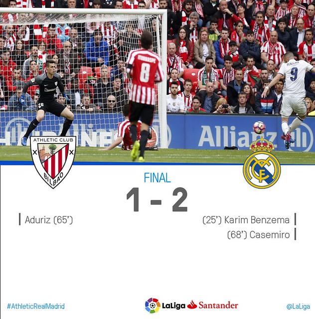 La Liga (Jornada 28): Athletic de Bilbao 1 - Real Madrid 2