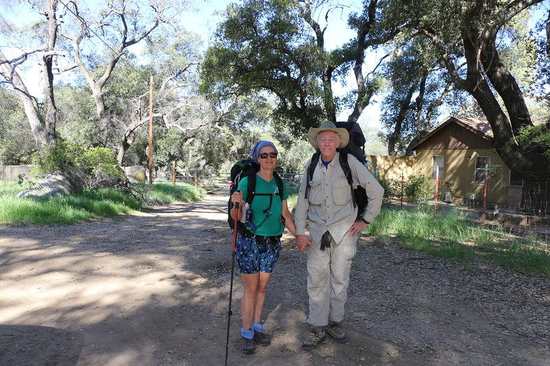 Vicki and I ready to start our hike at the gate in Hauser Canyon after being dropped off by our daughter on Hauser Canyon Road