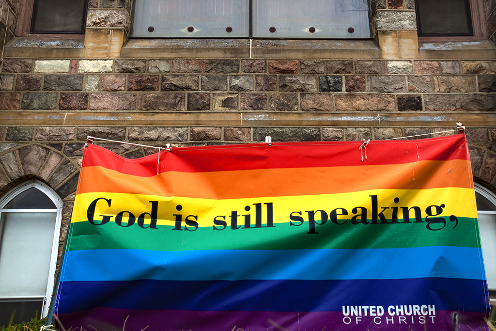 God is still speaking on rainbow flag--Ann Arbor
