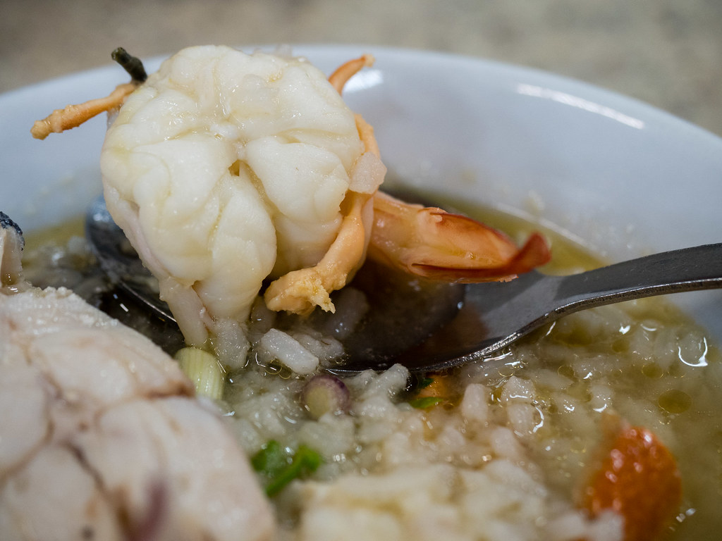 Fresh prawn in the seafood porridge
