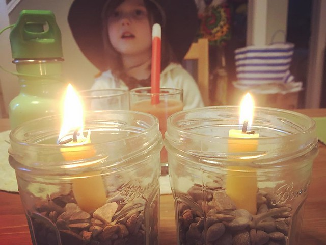 Candles for our (one day early) Equinox celebration.