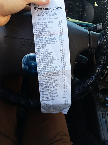 Stacked TJ's Grocery Receipt (April 7 2016)